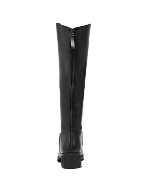 sale Faux Leather Zip Knee High Boots - BLACK 37 Mobile