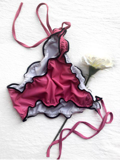 buy Frilled Plunge String Bikini Set - ROSE L Mobile