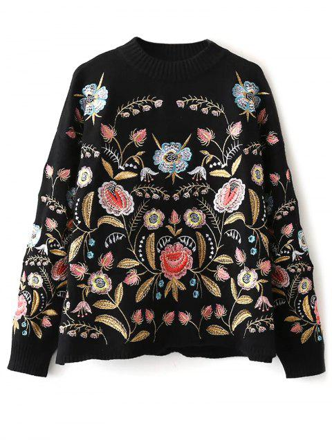 ladies Floral Embroidered Sweater - BLACK ONE SIZE Mobile