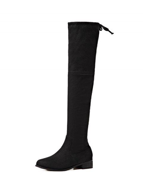 ladies Flat Heel Zip Tie Up Thigh Boots - BLACK 37 Mobile