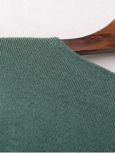 best Round Neck Belted Knitwear - GREEN ONE SIZE Mobile