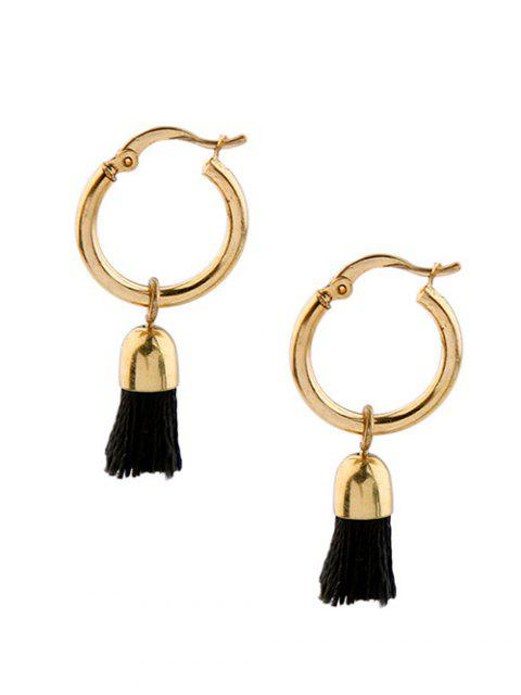 affordable Vintage Tassel Circle Drop Earrings - BLACK  Mobile