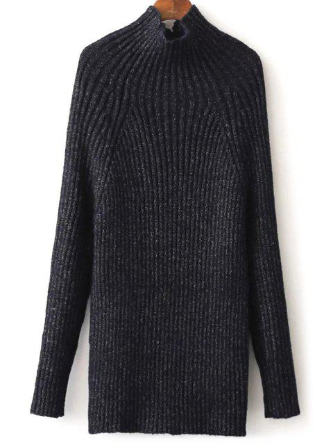 shop Tight Raglan Sleeve Ribbed Sweater - PURPLISH BLUE ONE SIZE Mobile