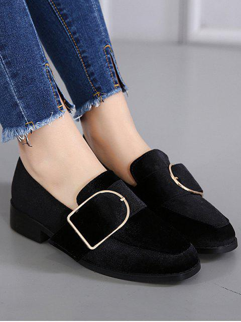 outfit Belt Buckle Square Toe Velvet Flat Shoes - BLACK 37 Mobile