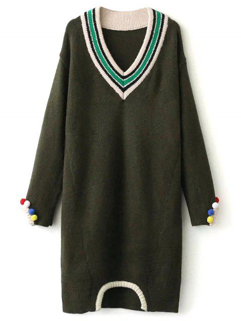 ladies Fuzzy Cricket Sweater Dress - ARMY GREEN ONE SIZE Mobile