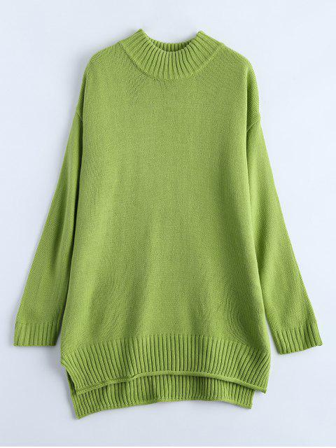 fashion Crewneck Oversized Sweater - GREEN ONE SIZE Mobile