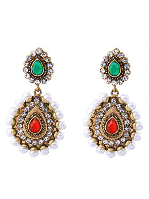 buy Vintage Artificial Pearl Gem Teardrop Earrings - GOLDEN  Mobile