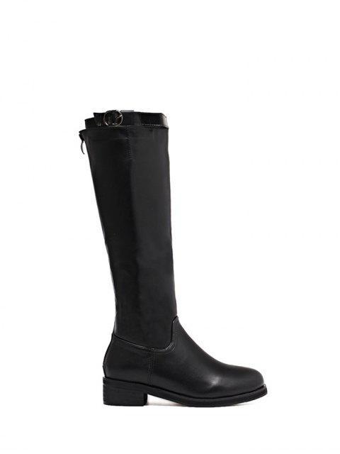 new Belt Buckle Zipper Knee High Boots - BLACK 38 Mobile