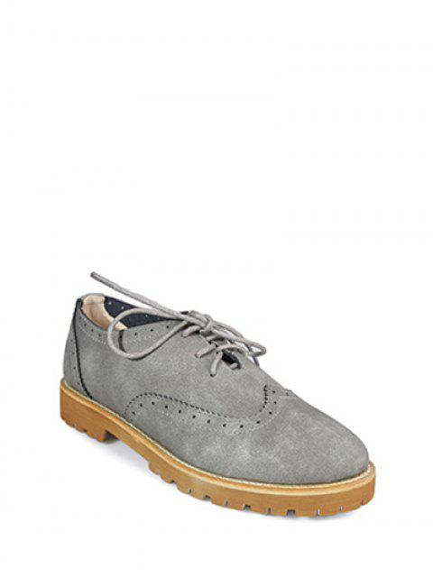 shops Wingtip Round Toe Tie Up Flat Shoes - GRAY 37 Mobile
