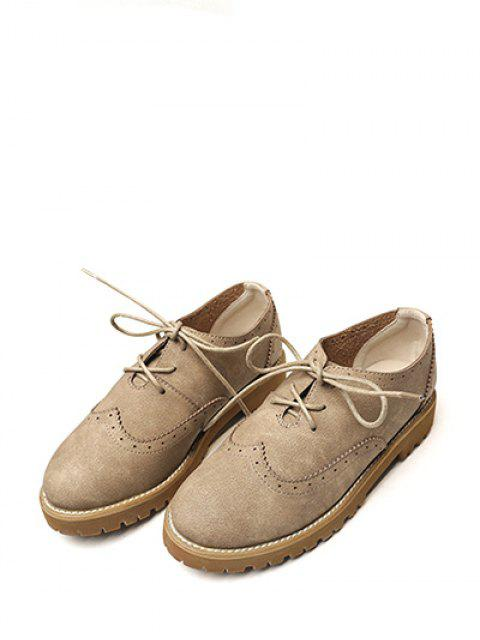 fashion Wingtip Round Toe Tie Up Flat Shoes - KHAKI 37 Mobile