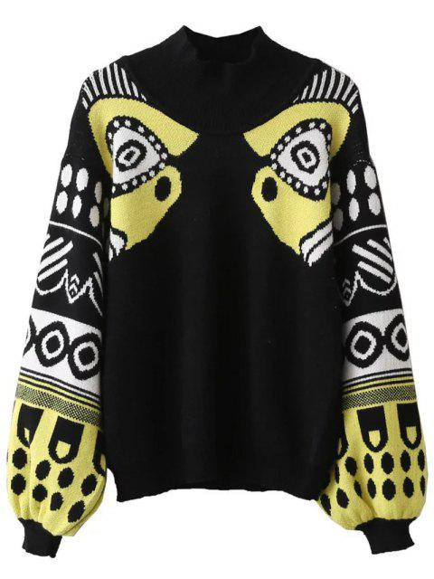 shops Lantern Sleeve Patterned Sweater - BLACK ONE SIZE Mobile