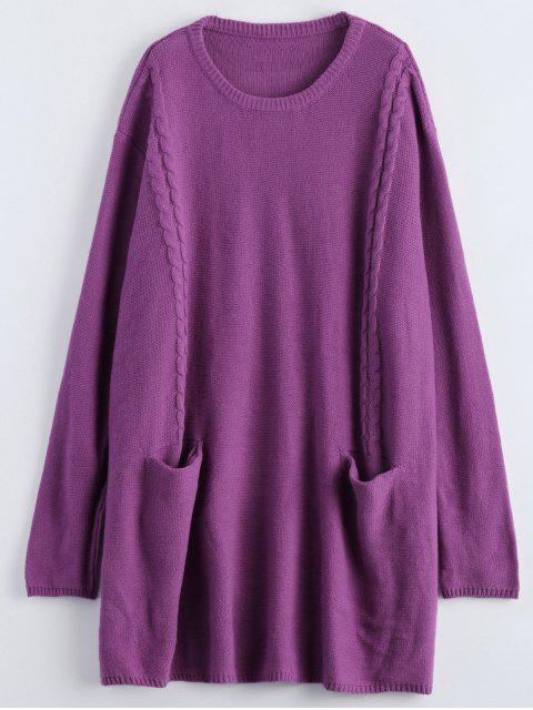 chic Oversized Cable Jumper Dress - PURPLE ONE SIZE Mobile