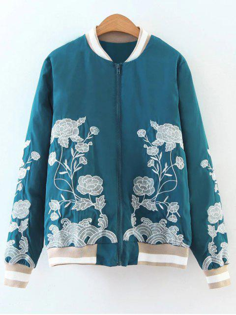 new Zipper Floral Embroidered Bomber Jacket - LAKE BLUE L Mobile