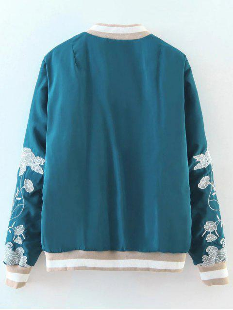 new Zipper Floral Embroidered Bomber Jacket - LAKE BLUE L Mobile