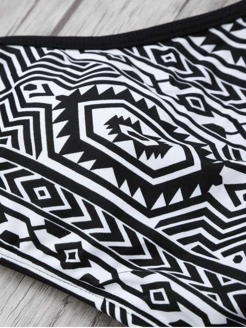 hot High Neck Tribal Print Bikini Set - BLACK L Mobile