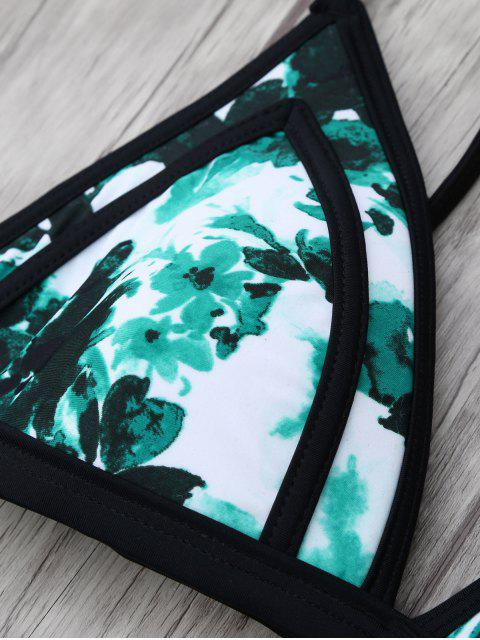 latest Chinese Floral Painting Swimsuits Slip - GREEN L Mobile