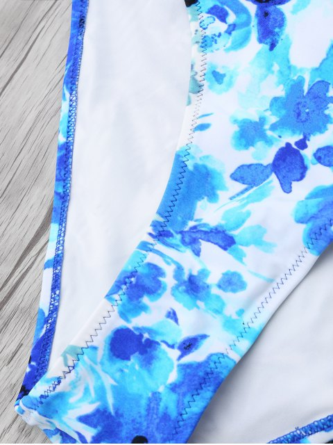 chic Chinese Floral Painting Swimsuits Slip - BLUE 2XL Mobile
