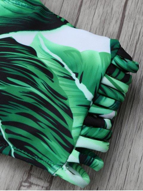 chic Leaf Print High Neck String Bikini Set - GREEN L Mobile