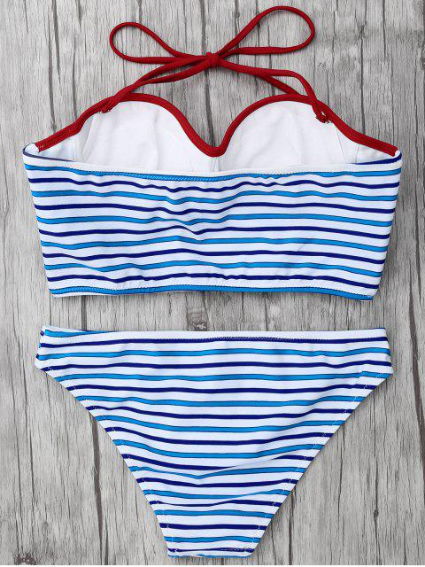 fancy Striped Color Block Underwire Bikini - STRIPE S Mobile