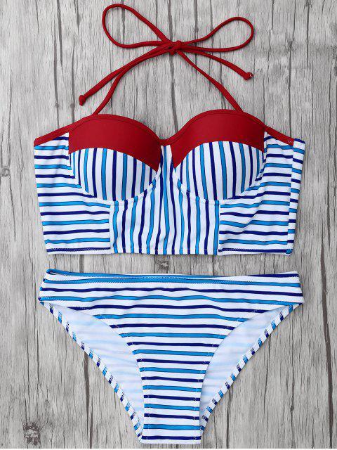 fashion Striped Color Block Underwire Bikini - STRIPE L Mobile
