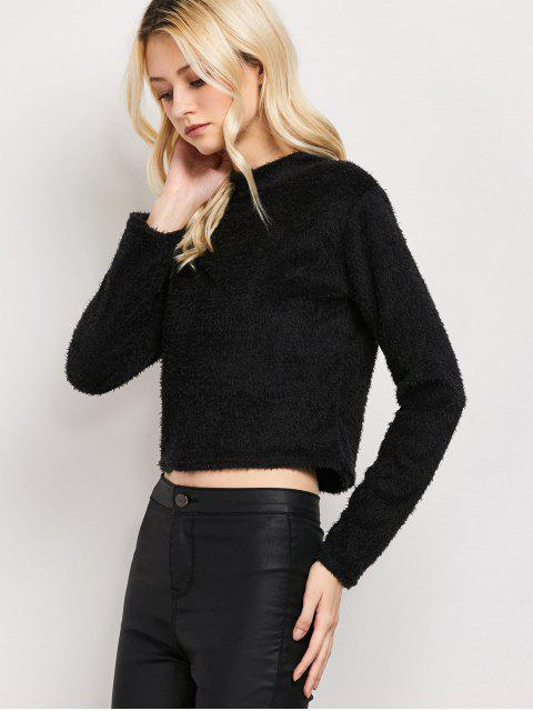affordable High Neck Fuzzy Cropped T-Shirt - BLACK M Mobile