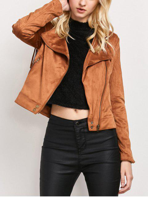 best Fringe Asymetrical Suede Jacket - BROWN L Mobile