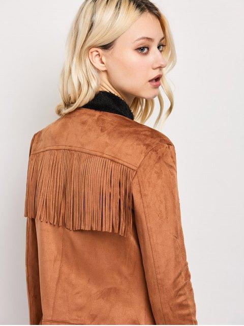 online Fringe Asymetrical Suede Jacket - BROWN M Mobile