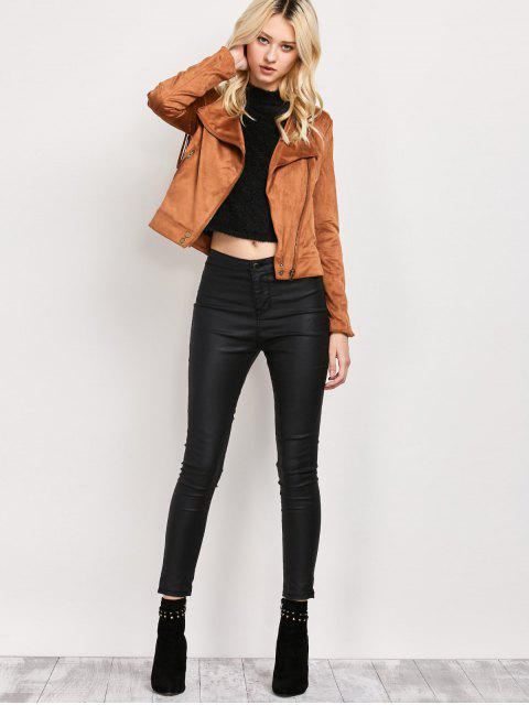 lady Fringe Asymetrical Suede Jacket - BROWN XL Mobile