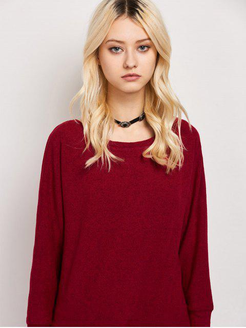 ladies Dolman Sleeve Round Collar Sweatshirt - BURGUNDY S Mobile