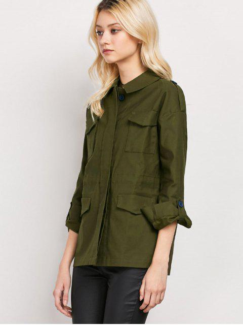 shops Pockets Turndown Collar Utility Jacket - ARMY GREEN M Mobile