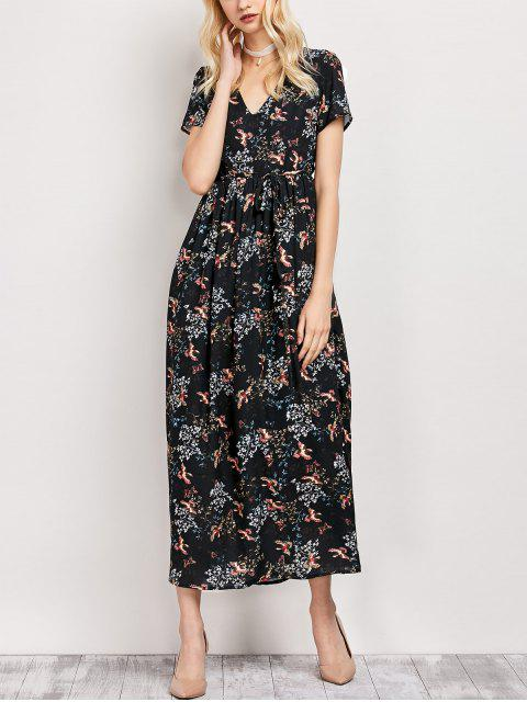 lady Tiny Floral V Neck Maxi Dress - BLACK S Mobile