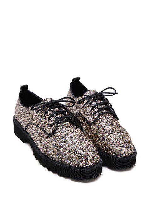fancy Sequined Lace Up Glitter Flat Shoes - GOLDEN 39 Mobile