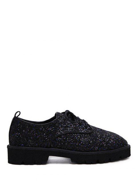 buy Sequined Lace Up Glitter Flat Shoes - BLACK 37 Mobile