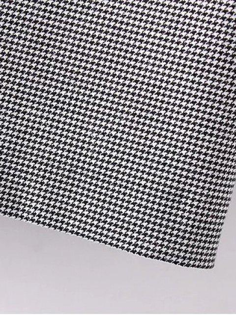 women Houndstooth Choker Dress - WHITE AND BLACK M Mobile