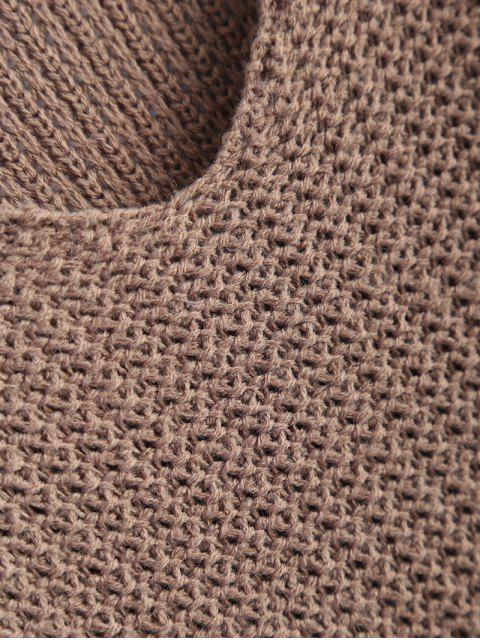 chic V Neck Relaxed Sweater - LIGHT COFFEE ONE SIZE Mobile