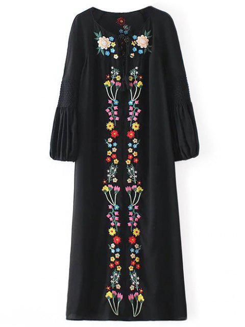 best Floral Embroidered Tunic Midi Dress - BLACK S Mobile
