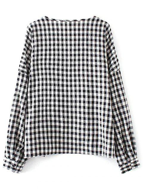 affordable Checked Lacework Blouse - PLAID M Mobile