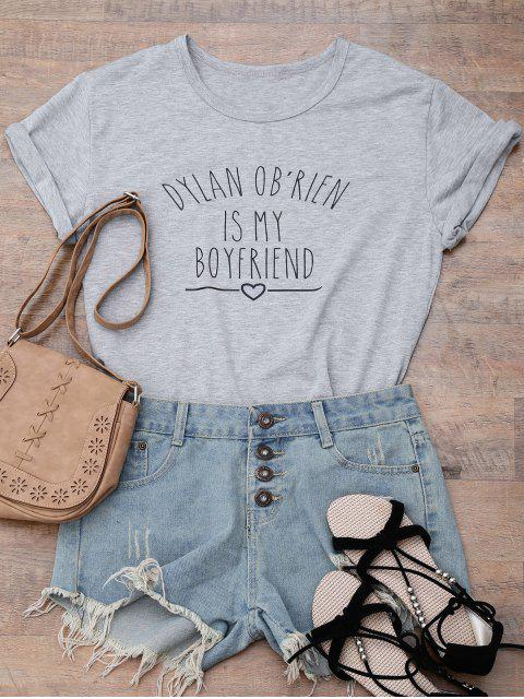 hot Short Sleeve Letter Print Boyfriend T-Shirt - GRAY XL Mobile
