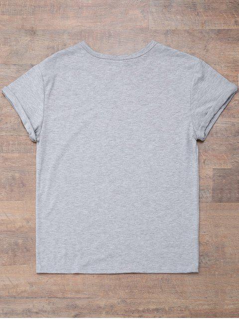 shop Short Sleeve Letter Print Boyfriend T-Shirt - GRAY S Mobile