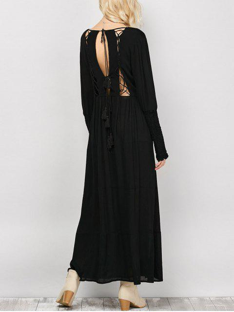 lady Long Sleeve Open Back Maxi Dress - BLACK M Mobile