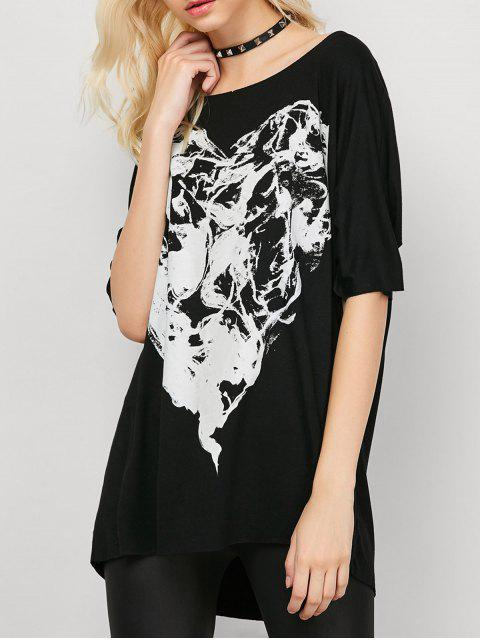 trendy Smoke Print Oversized Tee - BLACK S Mobile