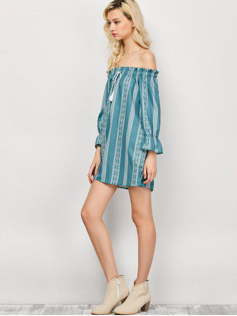 latest Striped Off The Shoulder Mini Dress - LIGHT GREEN L Mobile