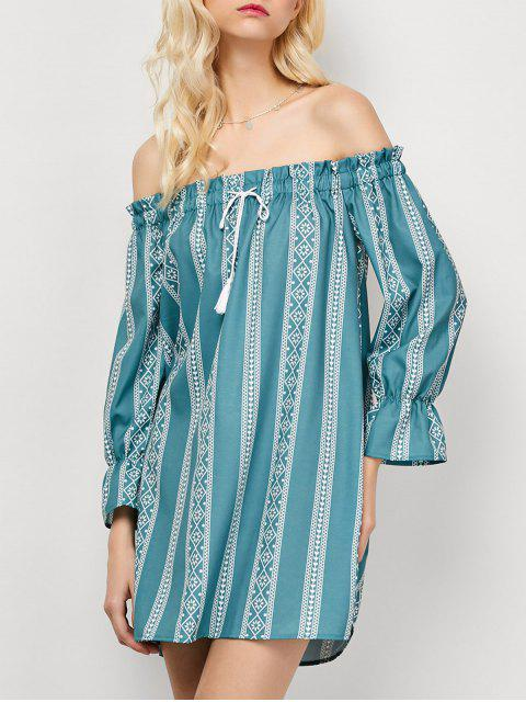 fashion Striped Off The Shoulder Mini Dress - LIGHT GREEN S Mobile