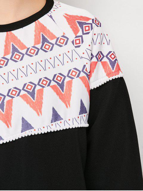 outfit Oversized Geometric Print T-Shirt - BLACK M Mobile