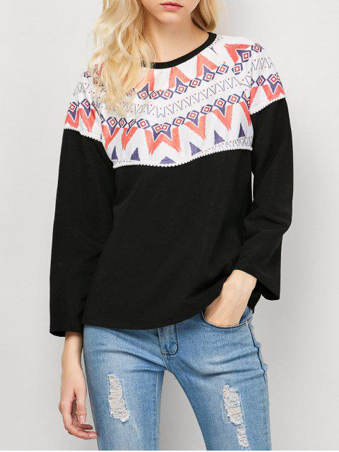 outfits Oversized Geometric Print T-Shirt - BLACK S Mobile
