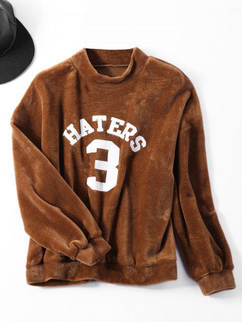 women's Oversized Velvet Letter Sweatshirt - COFFEE ONE SIZE Mobile