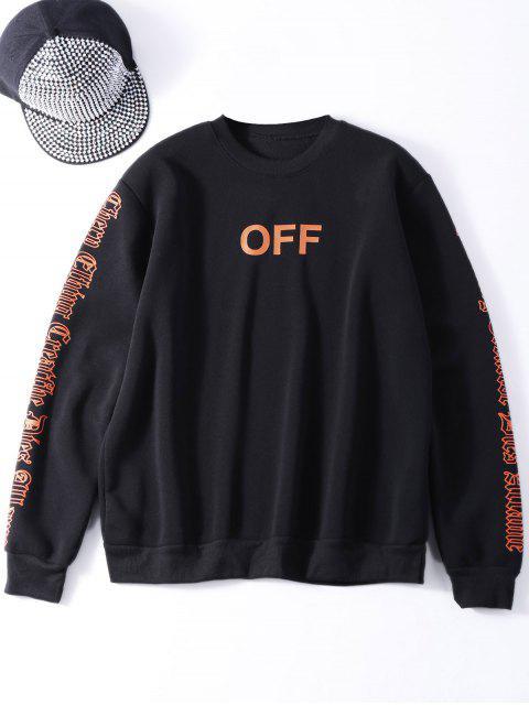 best Oversized Velvet Sweatshirt With Letter Print - BLACK ONE SIZE Mobile