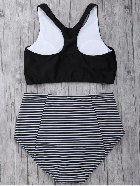 online Striped High Waisted Bikini Set - BLACK L Mobile