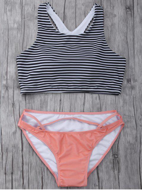 shop Striped High Neck Cutout Bikini Set - ORANGEPINK M Mobile