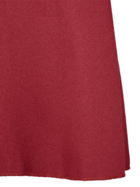 best Flare Sleeve V Neck Shift Dress - RED M Mobile
